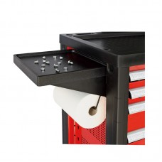 Compartmented shelf and paper roll holder